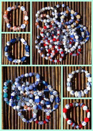 Delfter Blau Atelier Texel Auf den Texelmärkten verkaufen wir auch einzigartige handgefertigte Delfter Blau Armbänder. Armbänder nach eigenem Design, daher ist jedes Armband anders. Texel Detail an den Armbändern: ein versilbertes Schaf. Die Perlen aus Keramik und Glas sind auf eine professionelle Qualität Gummiband aufgereiht.