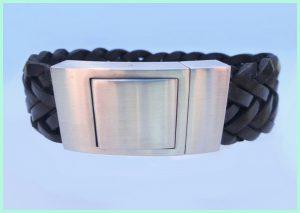 Atelier Texel leren armband zwart gevlochten leer