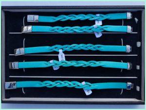 Atelier Texel - leren vlecht armbanden - edelstaal slot