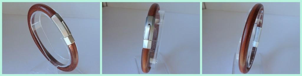 Leren armband cognac 6 bij 8 mm dik