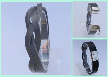 leren vlecht armband edelstaal slot Atelier Texel